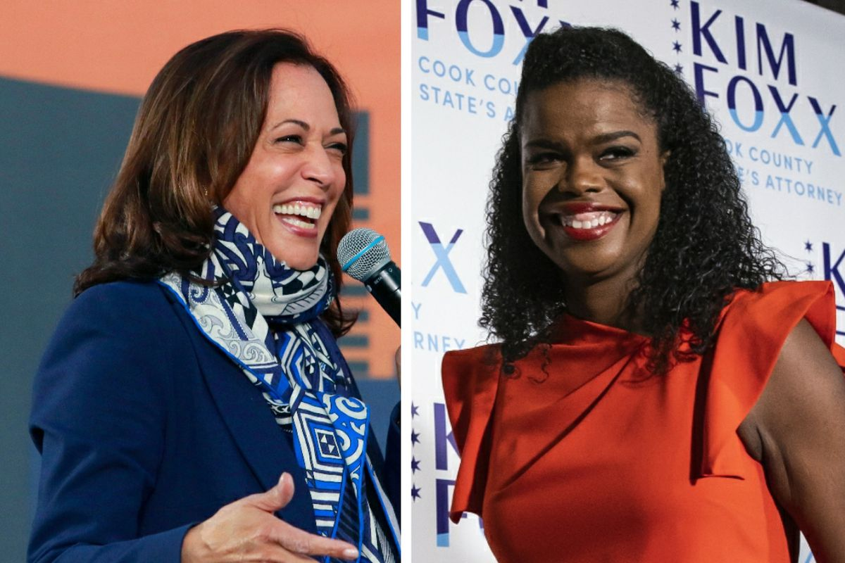 Democratic vice presidential nominee Kamala Harris, left; Cook County State's Attorney Kim Foxx, right.
