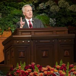 Elder Kevin S. Hamilton, of the Seventy speaks during the Sunday afternoon session of the 183rd Semiannual General Conference for the Church of Jesus Christ of Latter-day Saints Sunday, Oct. 6, 2013 inside the Conference Center.