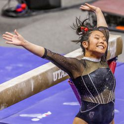 Utah's Cristal Isa performs on the beam as Utah and UCLA compete in a gymnastics meet at the Huntsman Center in Salt Lake City on Friday, Feb. 19, 2021.