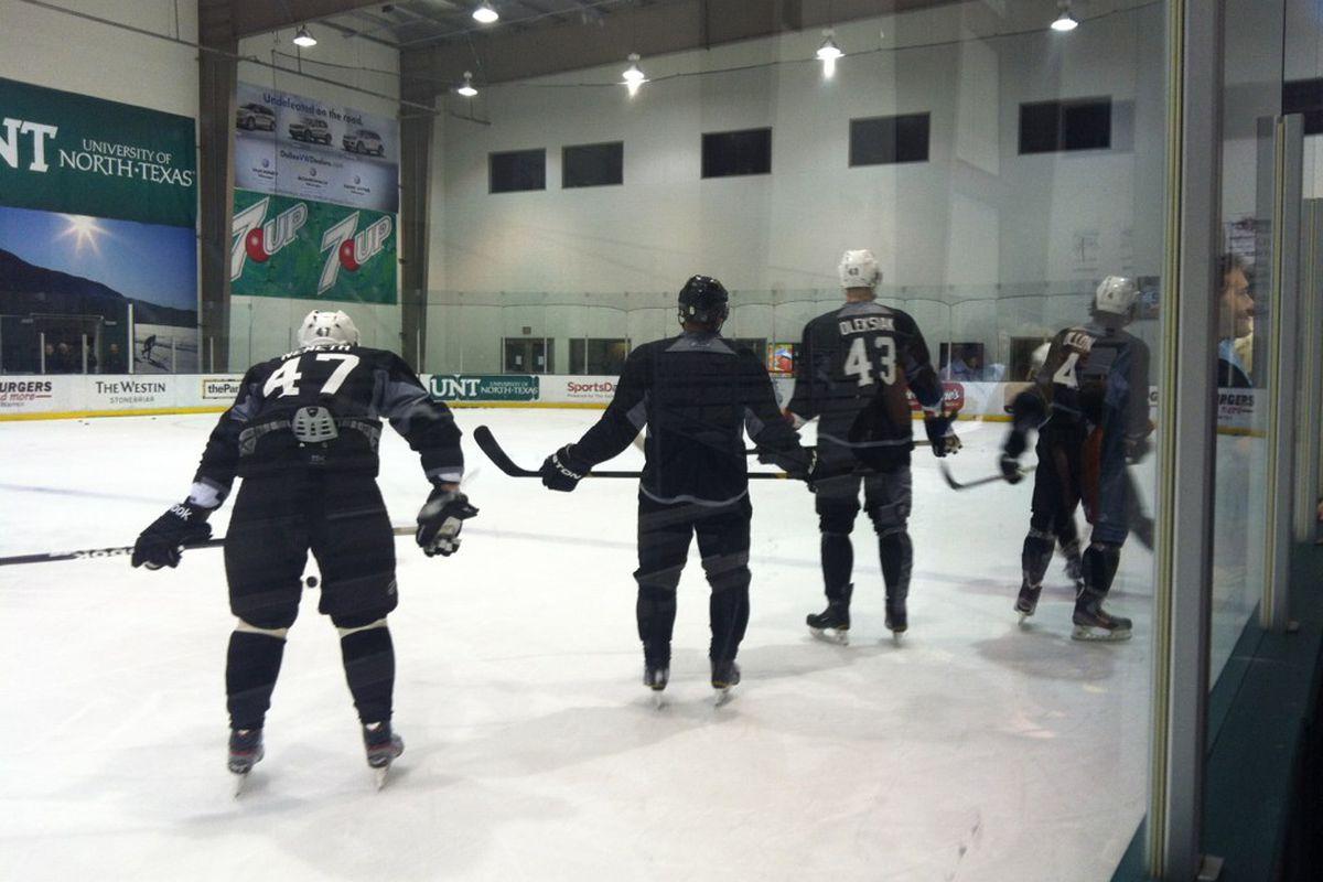 Patrick Nemeth, Trevor Daley, Jamie Oleksiak and Brenden Dillon participate in some skating drills on day 3 of Dallas Stars development camp.