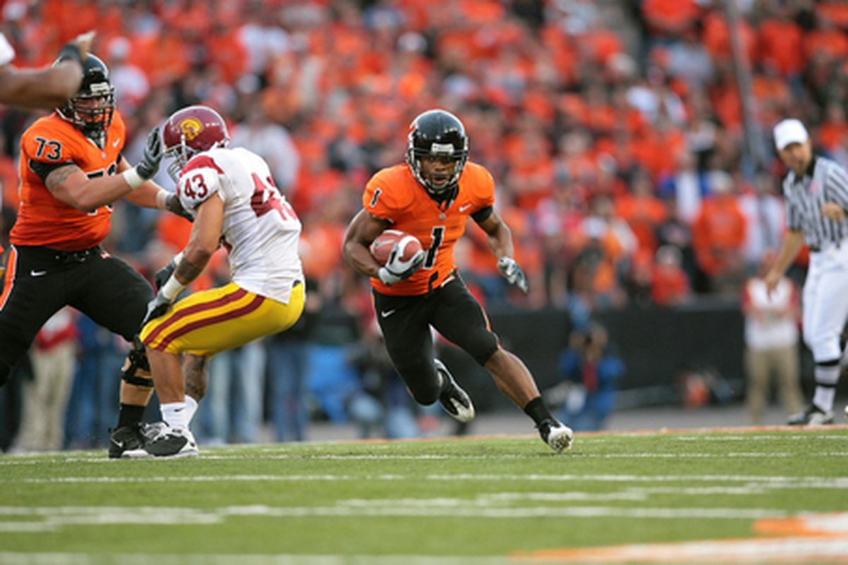 Jacquizz Rodgers rushed for 186 yards last year as the Beavers shocked the Trojans 27-21 in Corvallis.