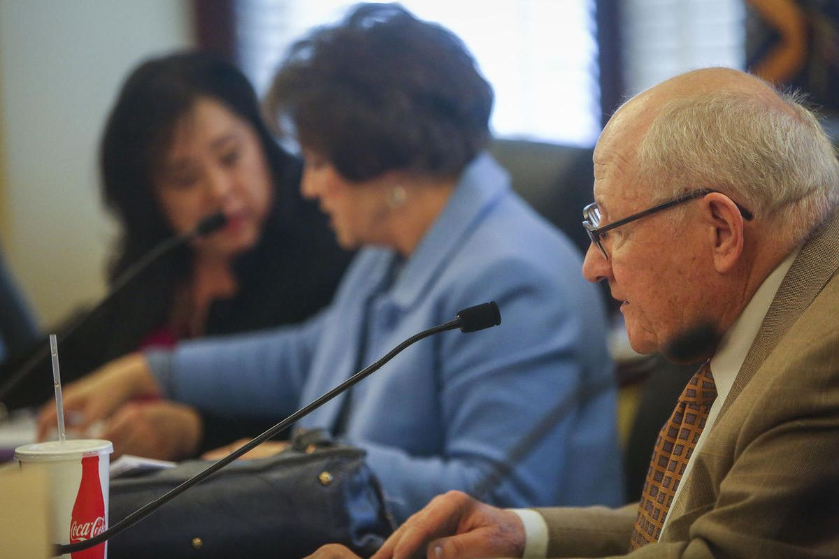 """FILE - SB 56 """""""" Animal Shelter Amendments sponsor Sen. Peter C. Knudson (R) speaks to the  Senate Government Operations and Political Subdivisions Standing Committee at the Utah State Capitol in Salt Lake City on Tuesday, Feb. 7, 201."""