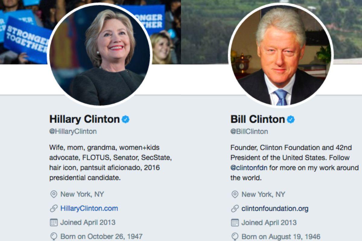 Hillary and Bill Clinton's Twitter bios