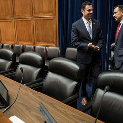Rep. Jason Chaffetz, R-Utah, talks to Utah House Speaker Greg Hughes, R-Draper, during a Utah delegation reception in the House Oversight and Government Reform Committee Room in the Rayburn Building in Washington, D.C., on Thursday, Jan. 19, 2017.