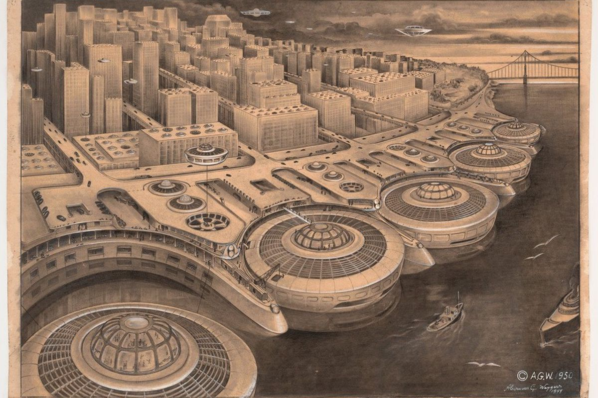 Old rendering of an alien-like SF waterfront.