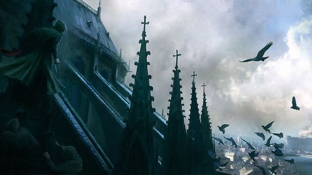 Concept art of Notre-Dame de Paris in <em>Assassin's Creed Unity</em>.