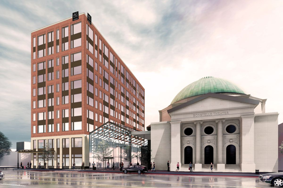 Rendering of a brown 10-story story connected by a glass atrium to a Neo-Classical building with a rotunda.