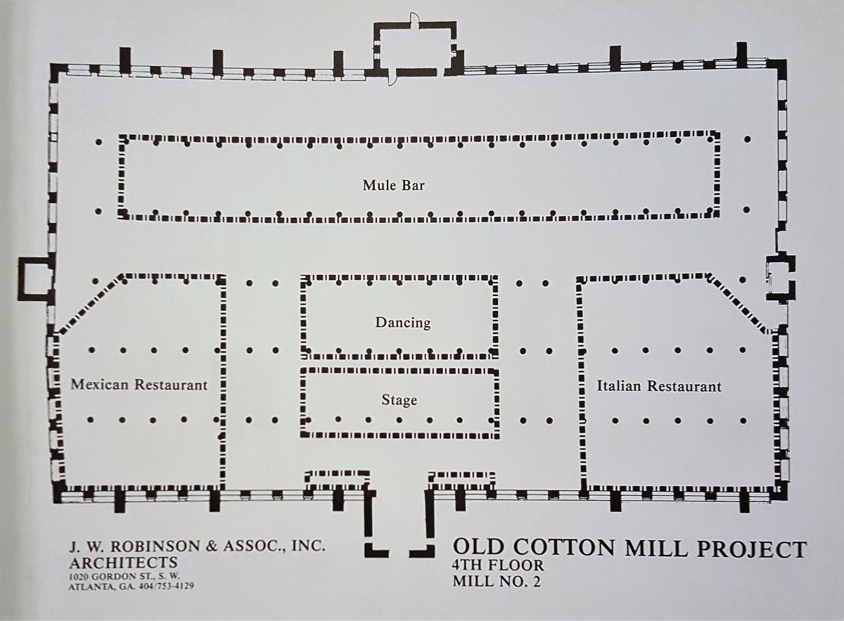 A floorplan of the bar area, which would have featured two restaurants, a stage, and a dancing area.