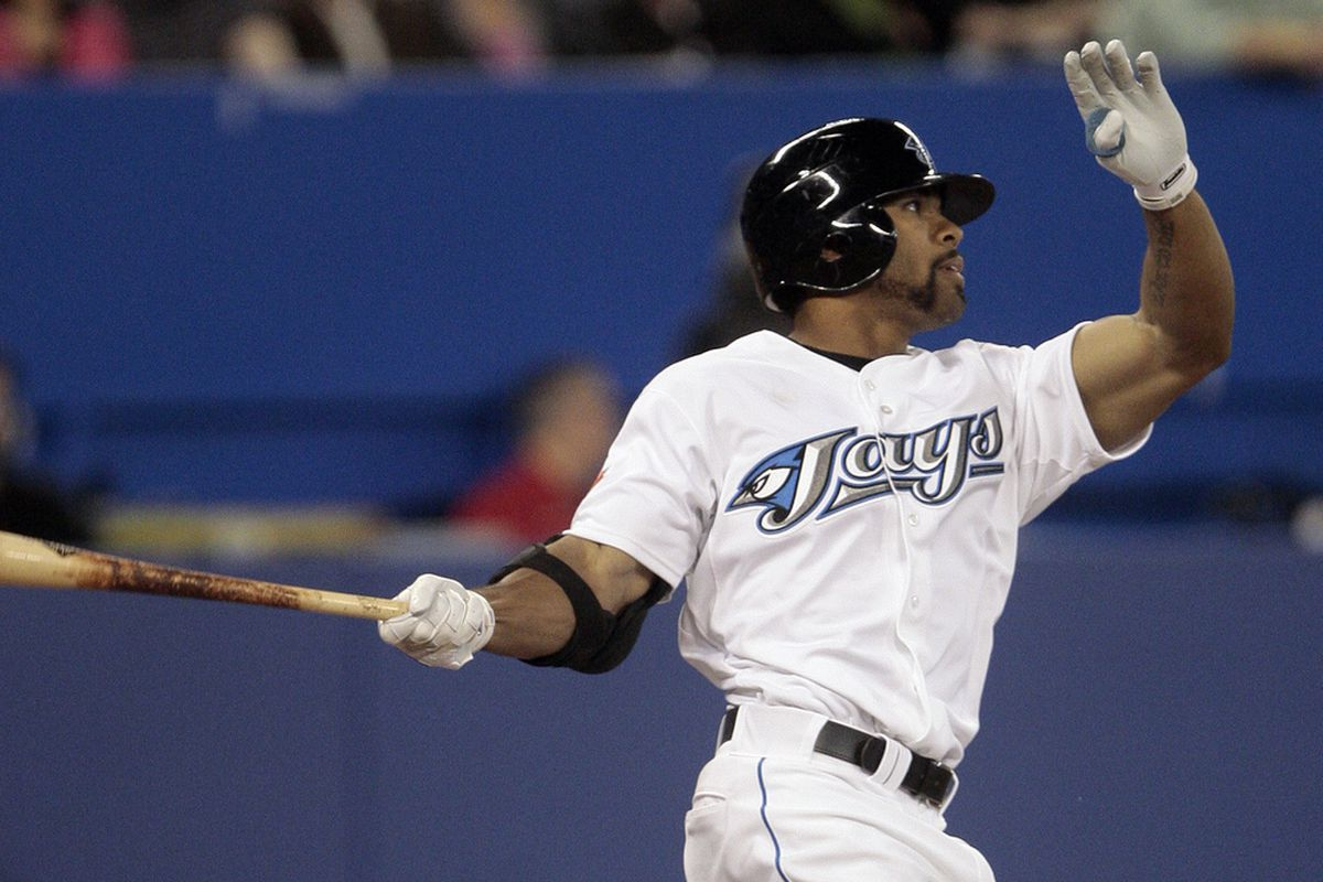 TORONTO, CANADA - MAY 18: Eric Thames #46 in his first Major League at bat against the Tampa Bay Rays during MLB action at the Rogers Centre May 18, 2011 in Toronto, Ontario, Canada. (Photo by Abelimages/Getty Images)