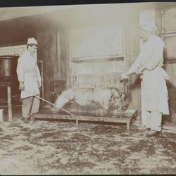 """Hotel Astor, roasting a black bear, 1906, by Byron Company. From the Collections of the Museum of the City of New York. [<a href=""""http://collections.mcny.org/MCNY/C.aspx?VP3=ViewBox&IT=ZoomImageTemplate01_VForm&IID=2F3XC5U0AB9V&CT=Image&Fl"""