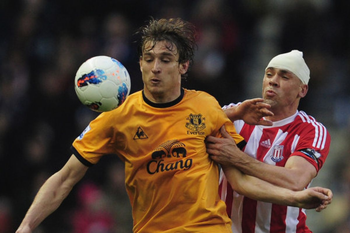 Nikica Jelavic holds off Basil Fawlty