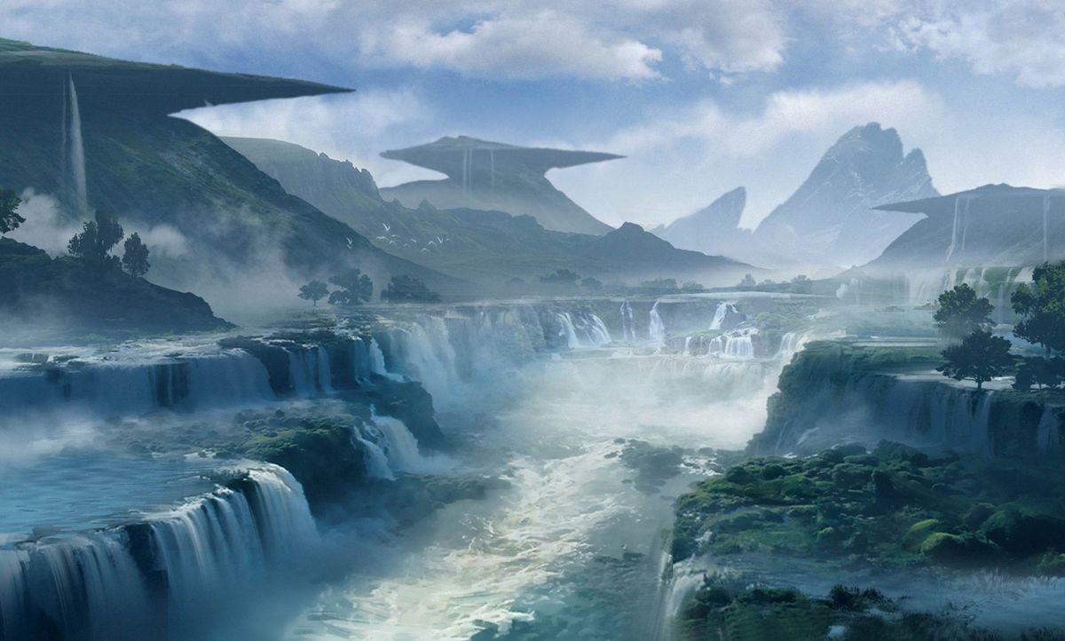 Anthem concept art of waterfalls and river