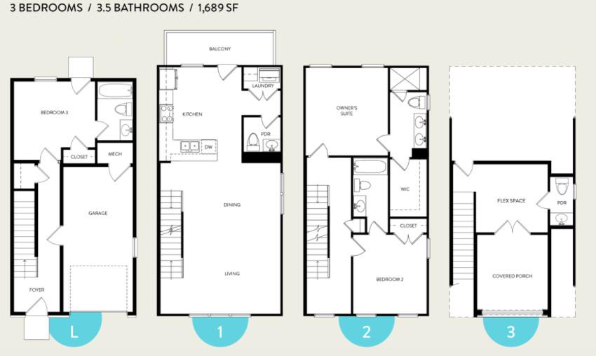 A rendering of a floorplan.