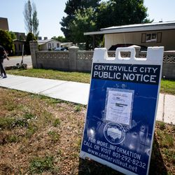 A public hearing notice is posted at the entrance of Centerville Mobile Estates in Centerville on Friday, May 8, 2020. Amid the COVID-19 pandemic, about 45 families living in the mobile home park received a letter on March 23, 2020, that notified them that the property will be used for other purposes.