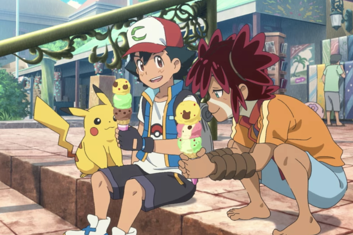 ash, pikachu, and koko sitting next to each other eating ice cream
