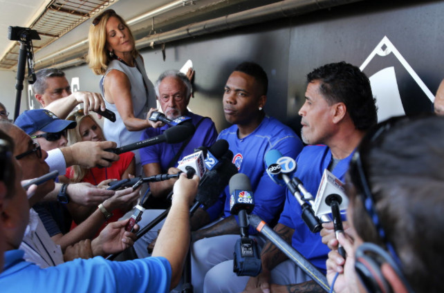 New Chicago Cubs pitcher Aroldis Chapman meets the local media for first time on Tuesday, July 26, 2016, at U.S. Cellular Field. | File photo