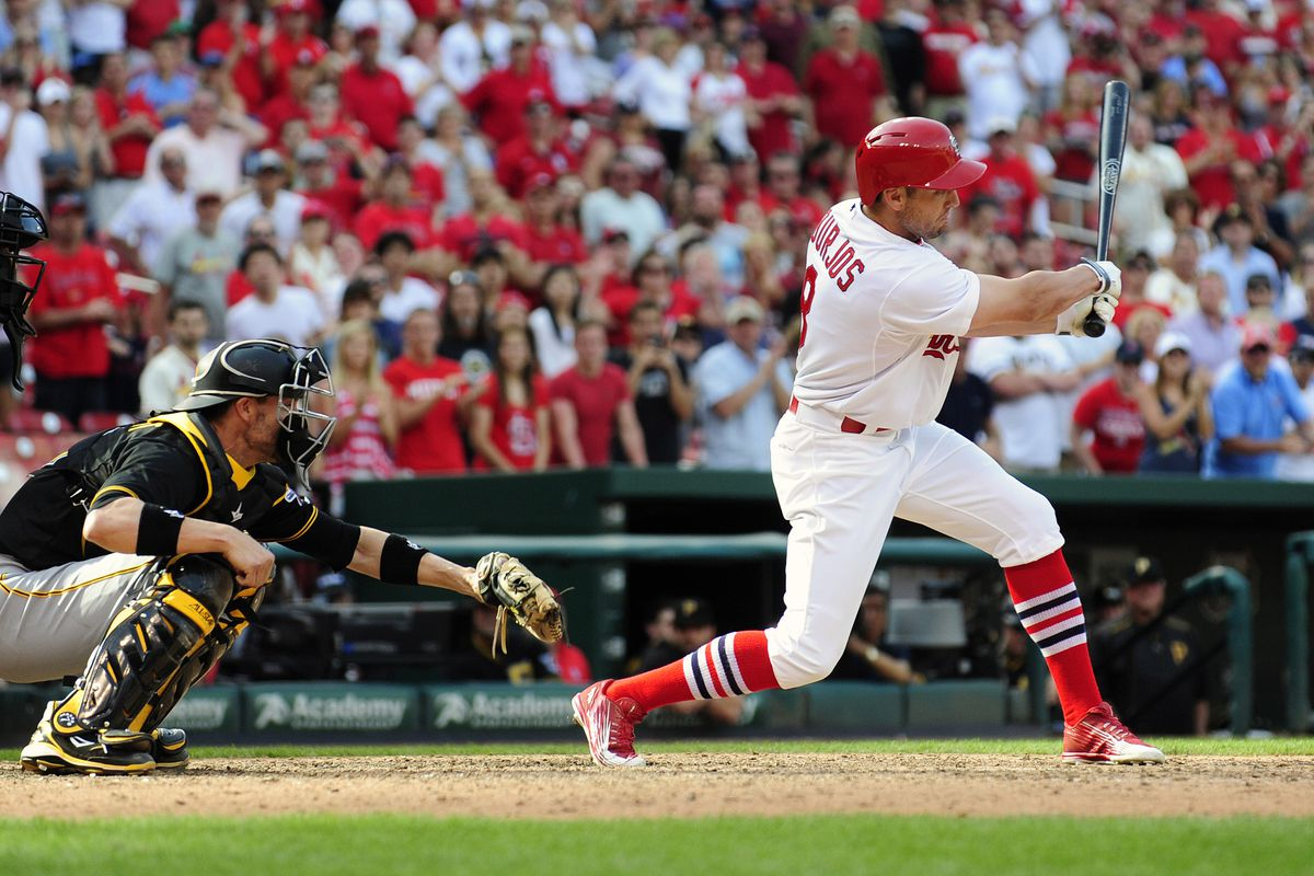 The follow-through of our leadoff hitter's swing.