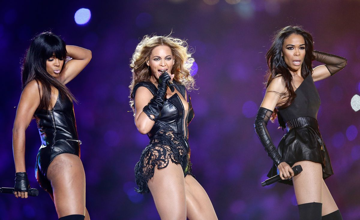 Kelly Rowland, Beyonce and Michelle Williams perform during the Pepsi Super Bowl XLVII Halftime Show at the Mercedes-Benz Superdome on February 3, 2013 in New Orleans, Louisiana. | Ezra Shaw/Getty Images
