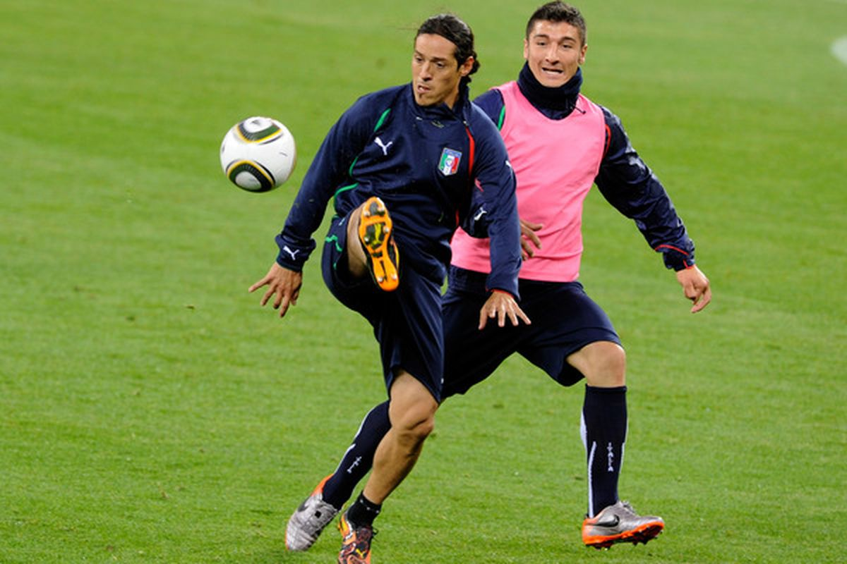 Mauro Camoranesi and Salvatore Bocchetti of Italy during training at the World Cup in Cape Town, South Africa. (Photo by Claudio Villa/Getty Images)
