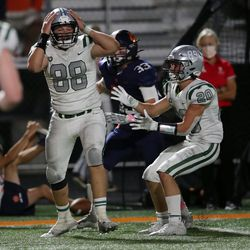 Olympus' Sam Creer (88) reacts after just missing his second interception of the game as the Titans and Brighton play a high school football game at Brighton in Cottonwood Heights on Friday, Sept. 10, 2021. Olympus won 35-28.
