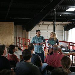 <em>Ralat with Slow Food Dallas leader Liz Goulding.</em>