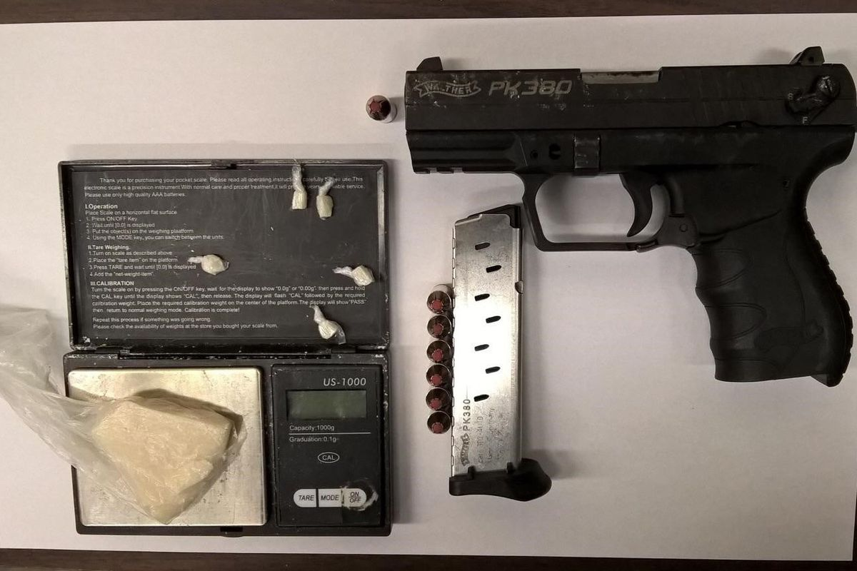 A gun and crack cocaine that were confiscated by police in New York.