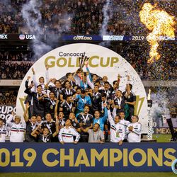 July 7, 2019 - Chicago, Illinois, United States - Team Mexico celebrate during the trophy presentation ceremony as they defeated USA 1-0 in the Gold Cup Final at Soldier Field.