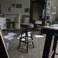 A stool sits in the middle of the room during a preview tour of the home and studio of artist Andrew Wyeth Monday, April 23, 2012 in Chadd's Ford, Pa. The studio will be open for tours in the summer of 2012 by the Brandywine River Museum.