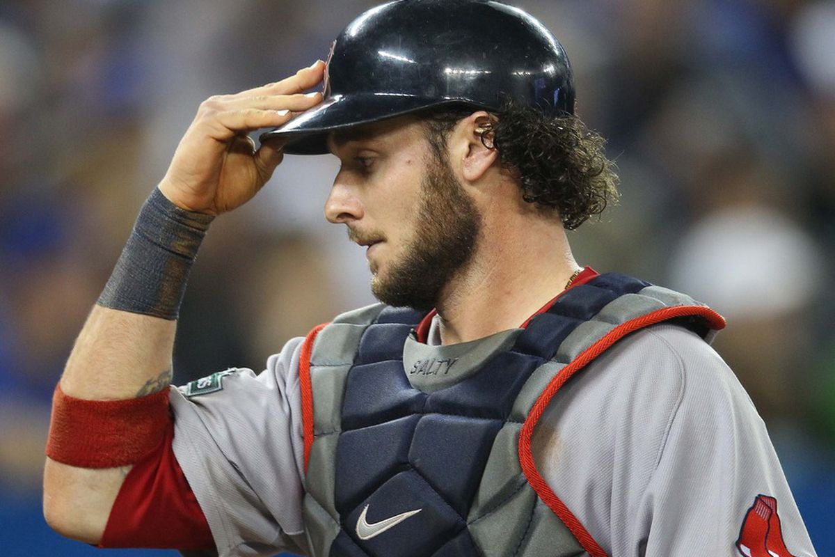 Jun 2, 2012; Toronto, ON, Canada; Boston Red Sox catcher Jarrod Saltalamacchia (39) during their game against the Toronto Blue Jays at the Rogers Centre. The Red Sox beat the Blue Jays 7-4. Mandatory Credit: Tom Szczerbowski-US PRESSWIRE