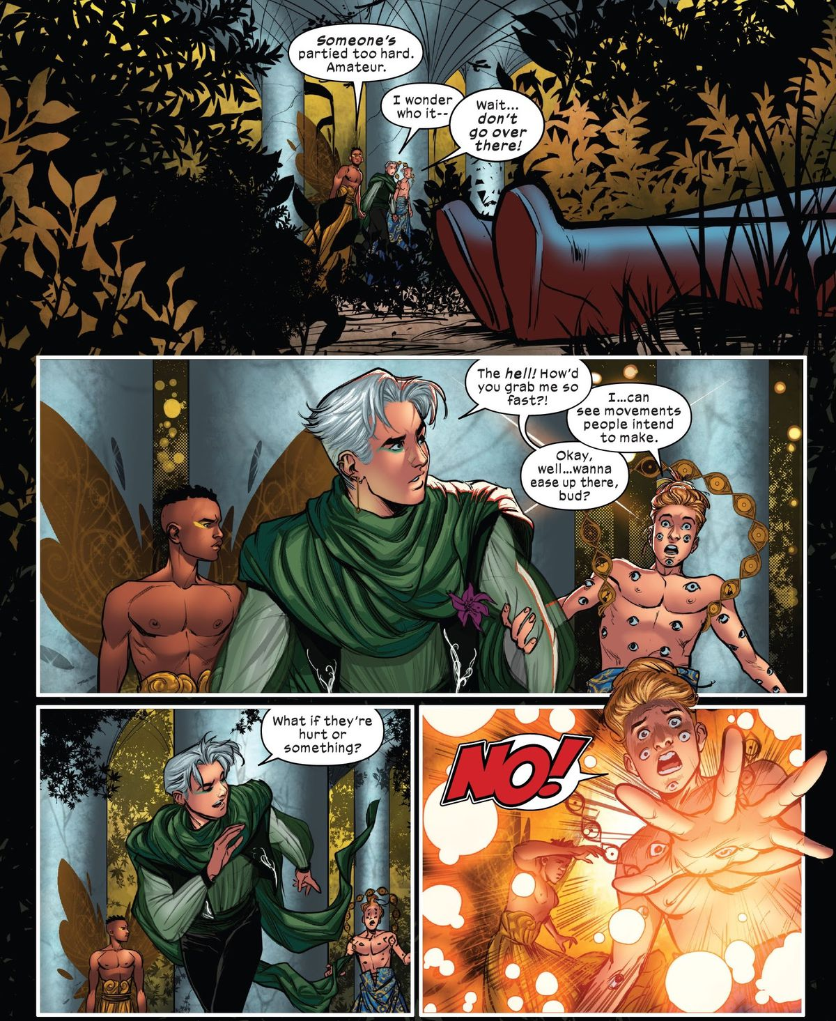 Eyeboy, Speed, and Prodigy come across the red boots of someone apparently passed out in a Krakoan garden. Eyeboy tries desperately to keep Speed from going any closer in X-Factor #10 (2021).