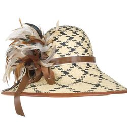 Wide brim, black and white straw with leather trim and natural feathers, $250