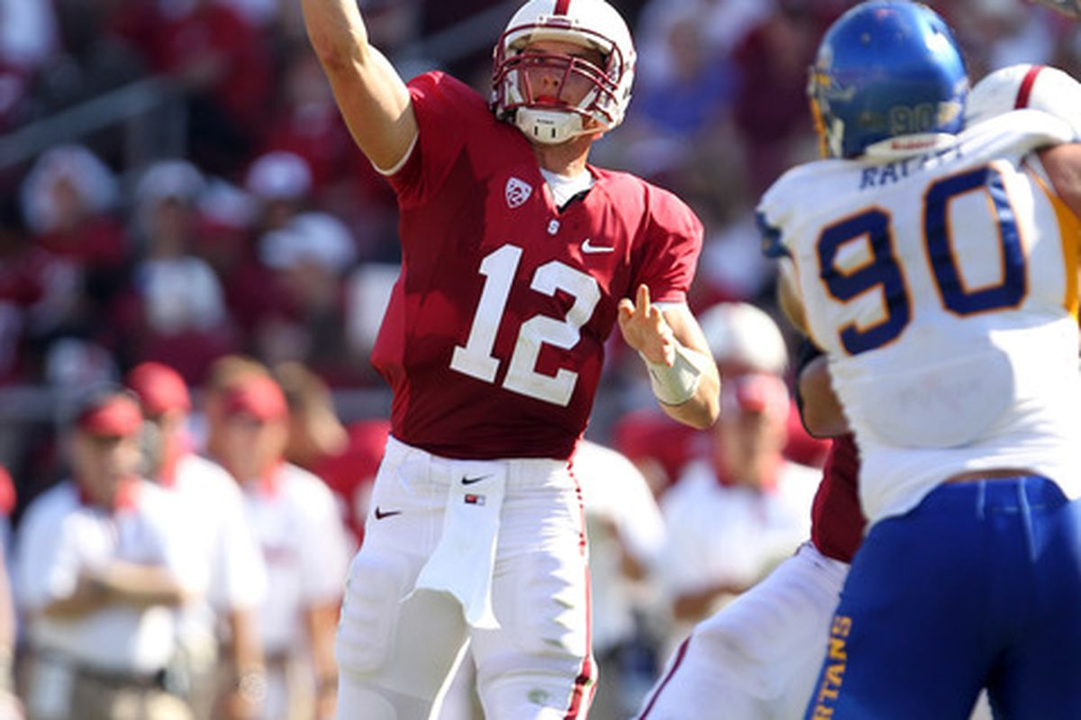 STANFORD, CA - SEPTEMBER 03:  Andrew Luck #12 of the Stanford Cardinal passes the ball during their game against the San Jose State Spartans at Stanford Stadium on September 3, 2011 in Stanford, California.  (Photo by Ezra Shaw/Getty Images)
