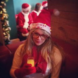"A Drunk Santa slurping down a Mimosa at Hudson Terrace, at 11:30 a.m. Photo: <a href=""http://instagram.com/p/TQ2nreCthO/"">Instagram/Lennettem</a>."