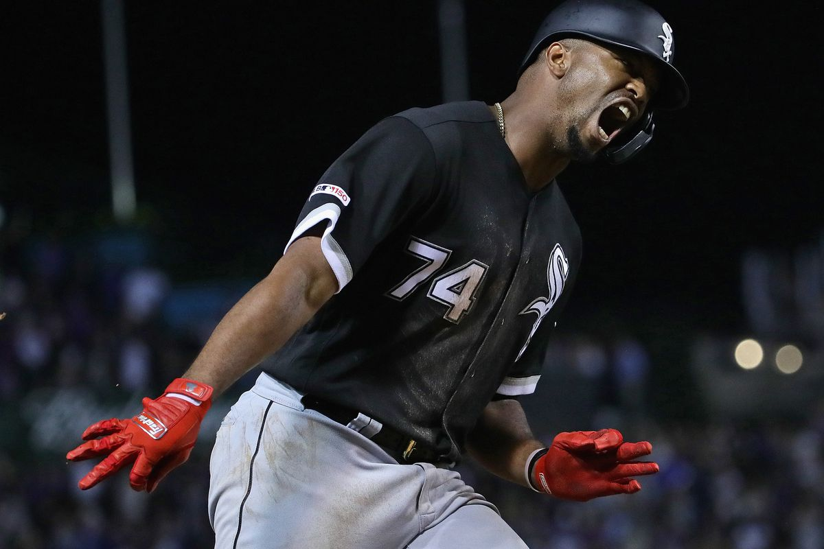 Eloy Jimenez of the Chicago White Sox yells as he runs the bases after hitting a two run home run in the 9th inning against the Chicago Cubs at Wrigley Field on June 18, 2019 in Chicago, Illinois. (Photo by Jonathan Daniel/Getty Images)