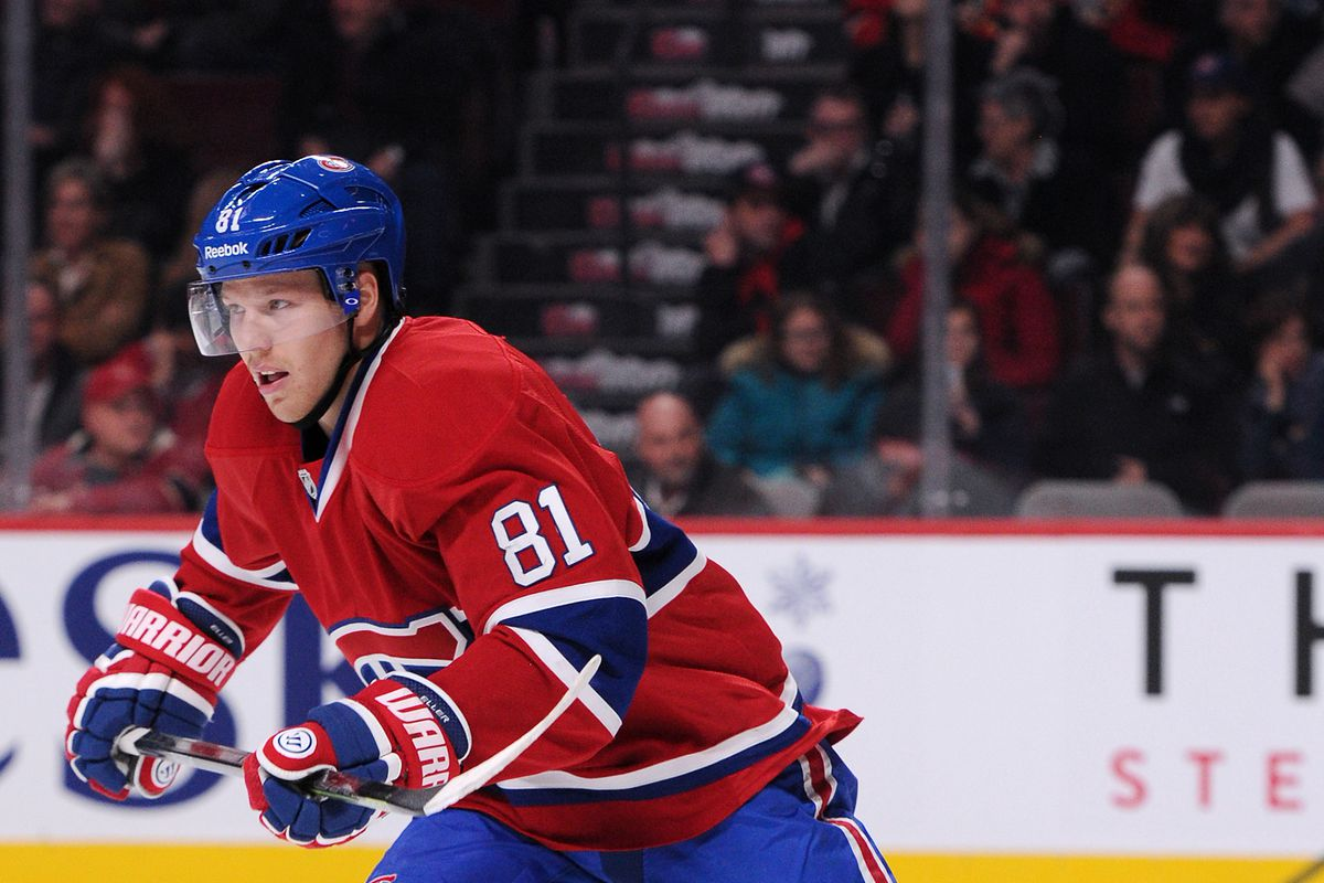 MONTREAL, QC - NOVEMBER 2: Lars Eller #81 of the Montreal Canadiens skates during the NHL game against the Calgary Flames at the Bell Centre on November 2, 2014 in Montreal, Quebec, Canada. The Flames defeated the Canadiens 6-2. (Photo by Richard Wol