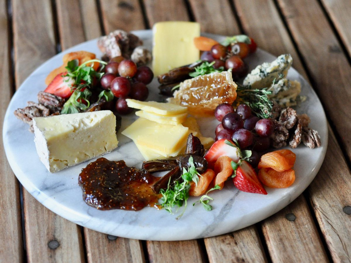 Wine and cheese board at Walton's