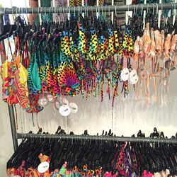 Swimsuit tops and bottoms, $30—$40 apiece