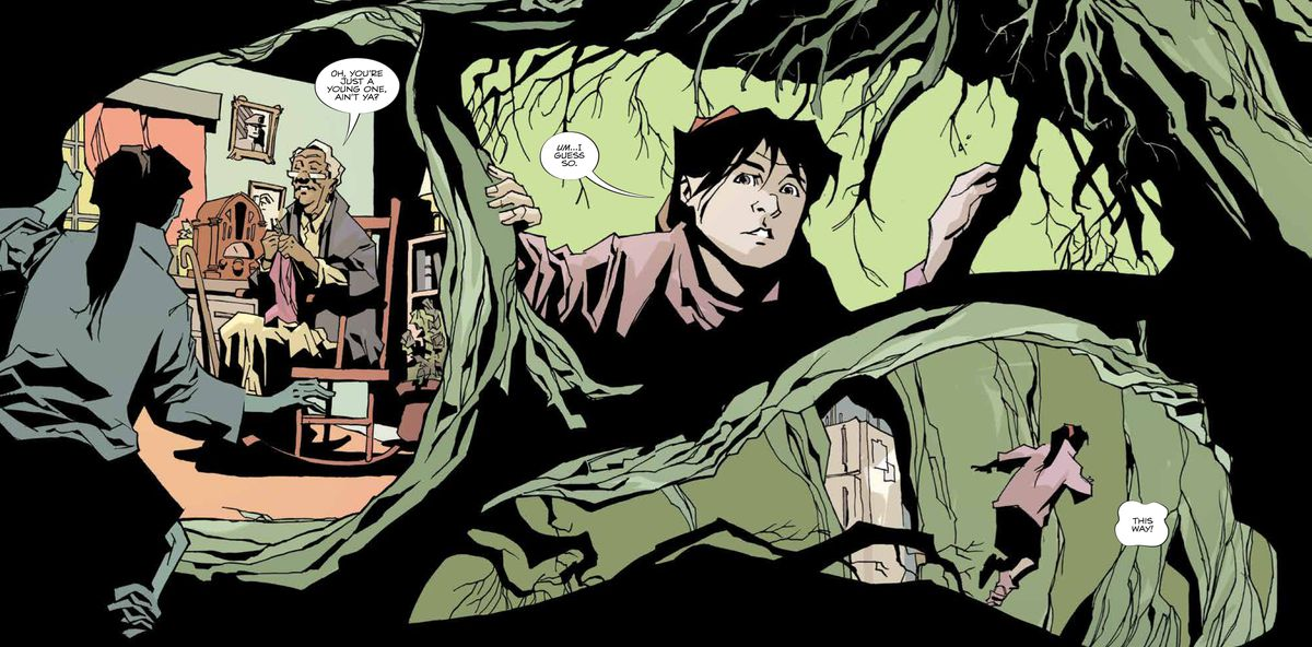 MEgan wanders through different rooms and hallways that appear to be inside a massive tree, in Family Tree #3, Image Comics (2020).