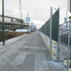 """View of the """"drive-thru"""" lane for construction vehicles on Clark"""