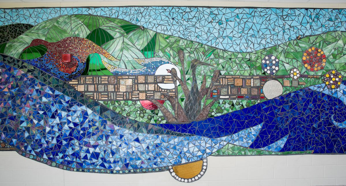 """Another view of a section of """"Creekside Mosaic"""" at Creekside Middle School in Woodstock."""