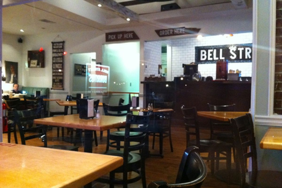 The dining room at Bell Street Burritos, Westside.