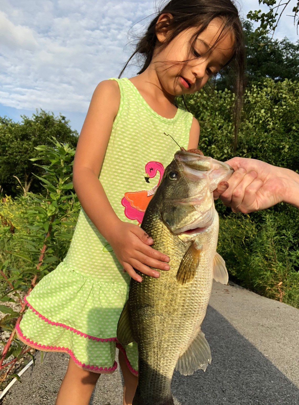 Jeff Brown's daughter caught a notable largemouth in Frankfort Square. Provided photo