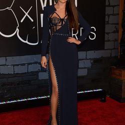 Selena working it in dark blue Versace.