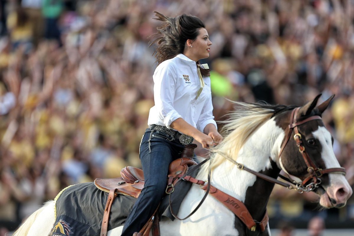 According to the caption attached to this picture, this is the Western Michigan mascot. Presumably the horse, not the rider.