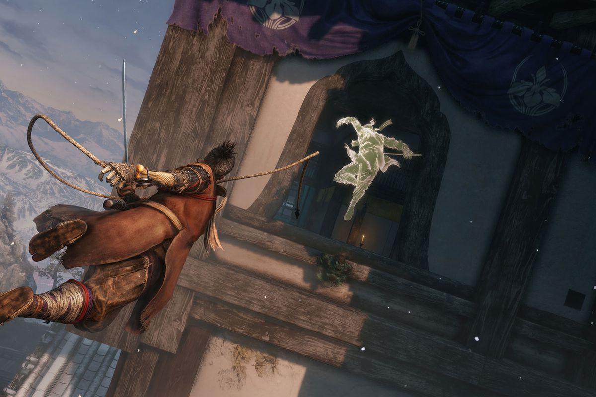 The Wolf pursues a phantom version of himself in a screenshot from Sekiro: Shadows Die Twice