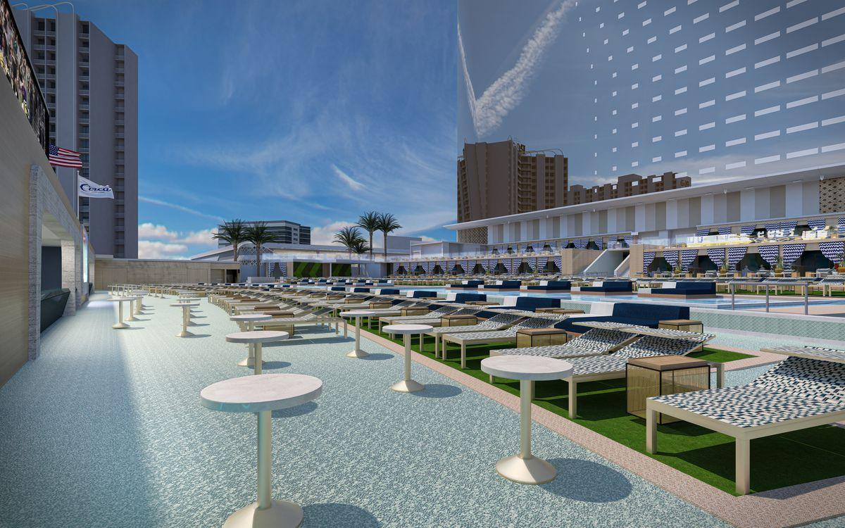 The pool deck at Circa's Stadium Swim