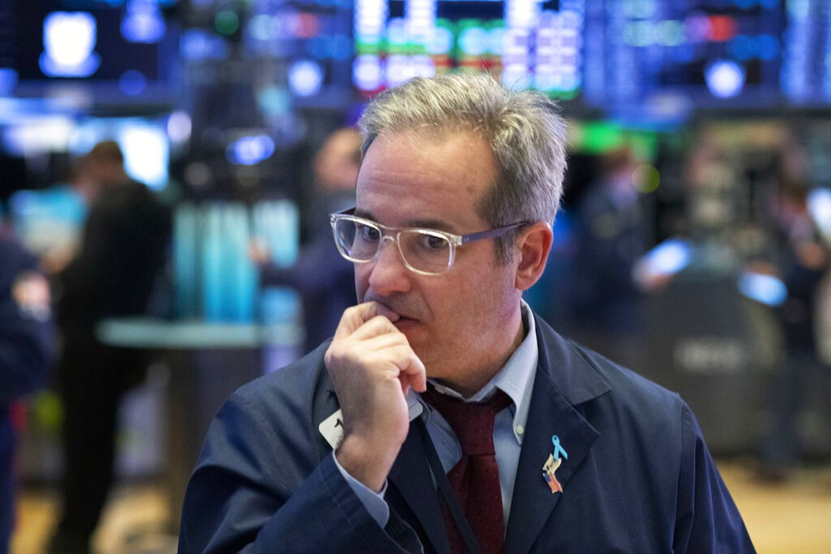 A trader works the floor at the New York Stock Exchange