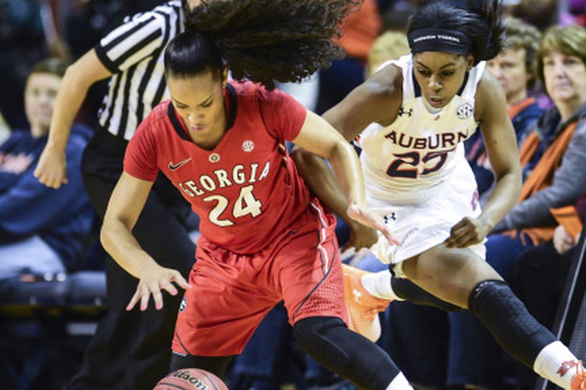 Neydja Petithomme Auburn Women's Basketball vs Georgia on Sunday, January 11, 2015 in Auburn, Ala