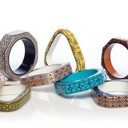 The bangles are hand-painted in India. Lewis ensures that the artisans get proper pay and health care.