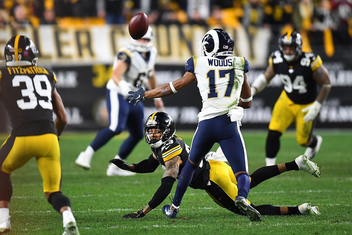 Joe Haden of the Pittsburgh Steelers breaks up a pass intended for Robert Woods of the Los Angeles Rams during the fourth quarter at Heinz Field on November 10, 2019 in Pittsburgh, Pennsylvania.